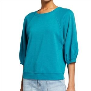 AMO Puff Sleeve Crewneck Sweatshirt Blue XS